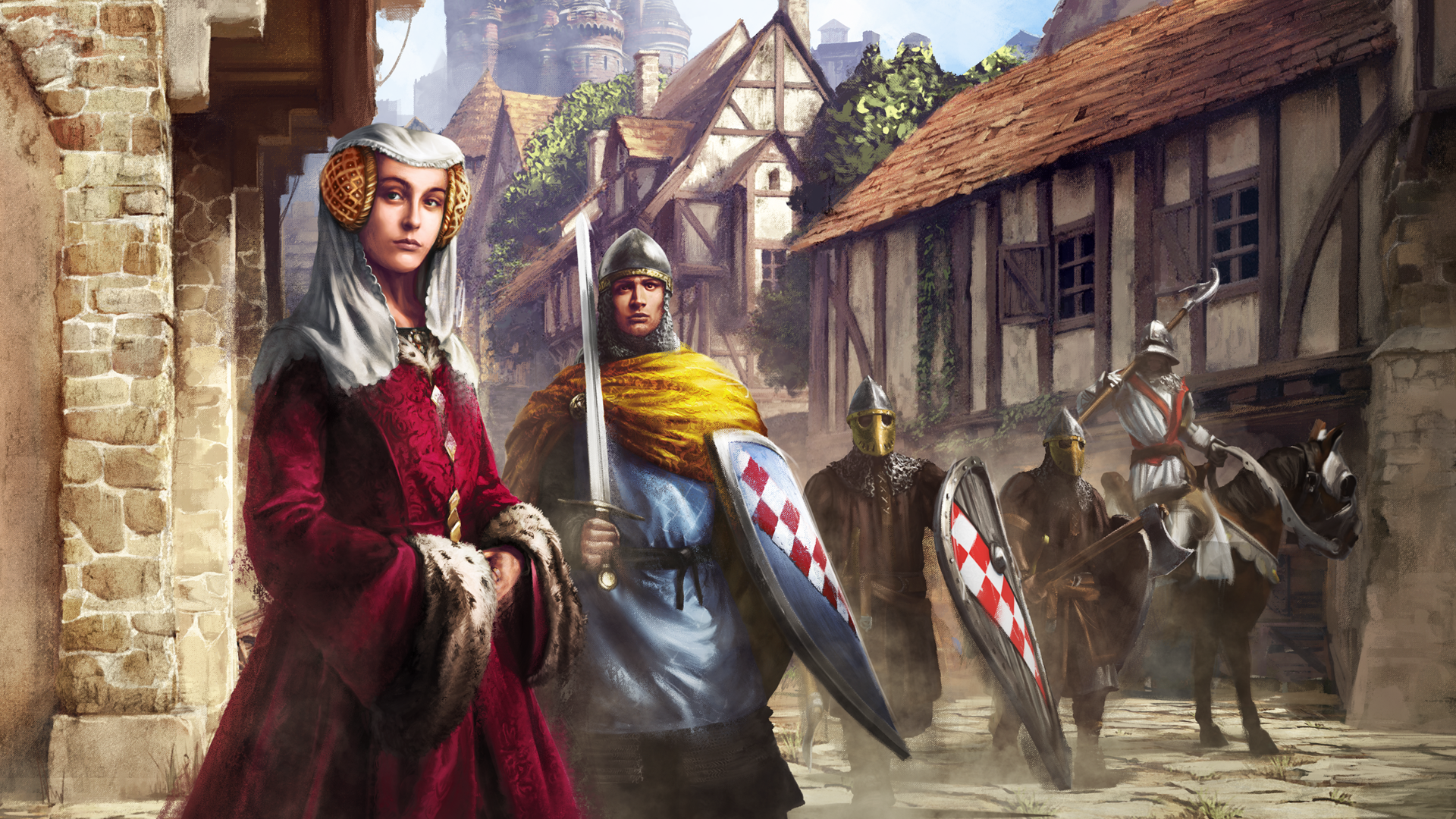 Age of Empires II Lords of the West background art featuring a noble woman and several knights in a medieval village