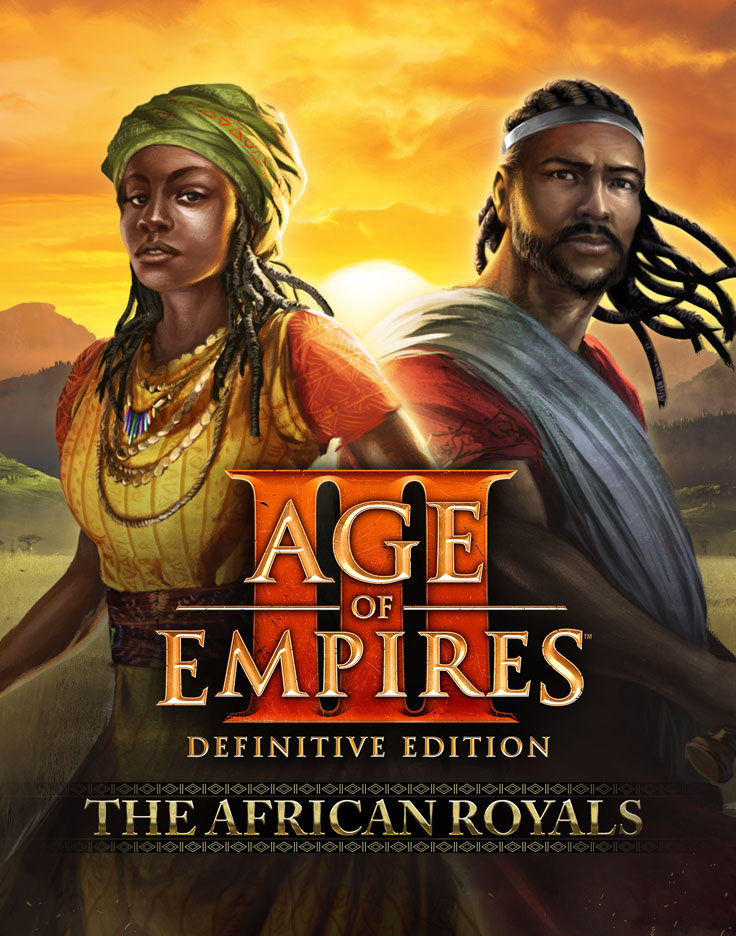 Box art for The African Royals showing African royalty with sunset background and Age II DE logo